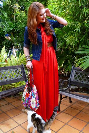 Red Red Maxi Dress EShakti Dresses, Navy Denim Jacket ...
