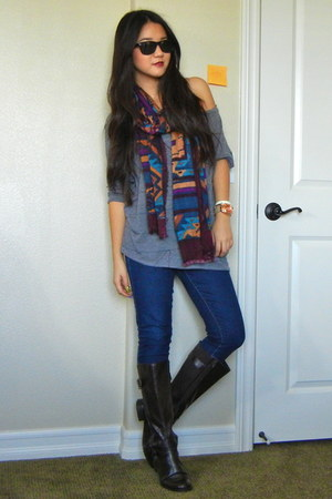 tribal no brand scarves dark brown riding boots easy