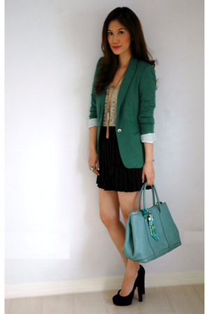Dark Green Zara Blazers, Sky Blue Hermes Bags, Black