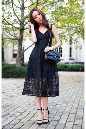 Black nicholas dresses black leather chanel bags black for Leather wedding dresses black