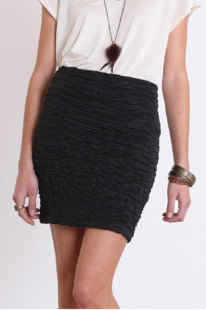Ripples of Excitement Fitted Skirt in Black by threadsence | Chictopia