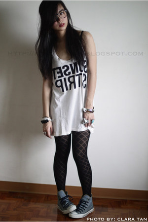 White Forever21 Tops Black From My Friend Shai Tights