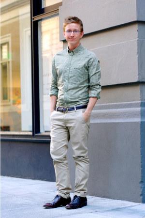 Men's Green Ben Sherman Shirts, Dark Brown Dress Vintage Shoes ...