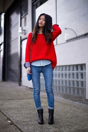 Black Nine West Boots Blue Zara Jeans Red H Amp M Sweaters