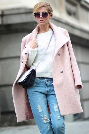 Light Pink Choies Coats Sky Blue Ripped Jeans Zanzea